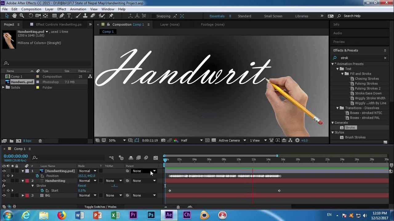 write on effect after effects