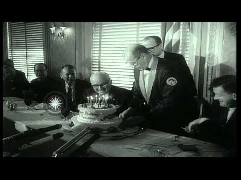 Former United States President Harry S. Truman on his 80th birthday greeted at va...HD Stock Footage