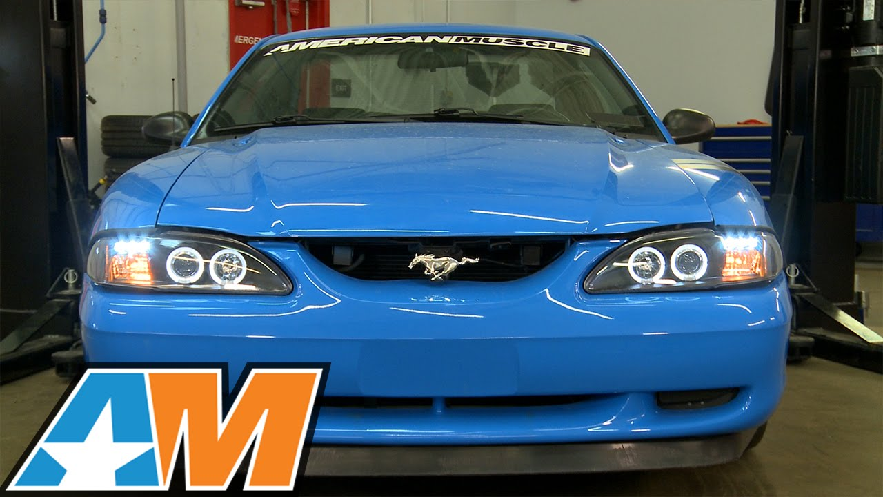 small resolution of 1994 1998 mustang dual halo led black projector headlights review install