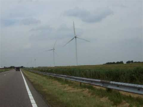 Wind turbines in North Holland, the Netherlands
