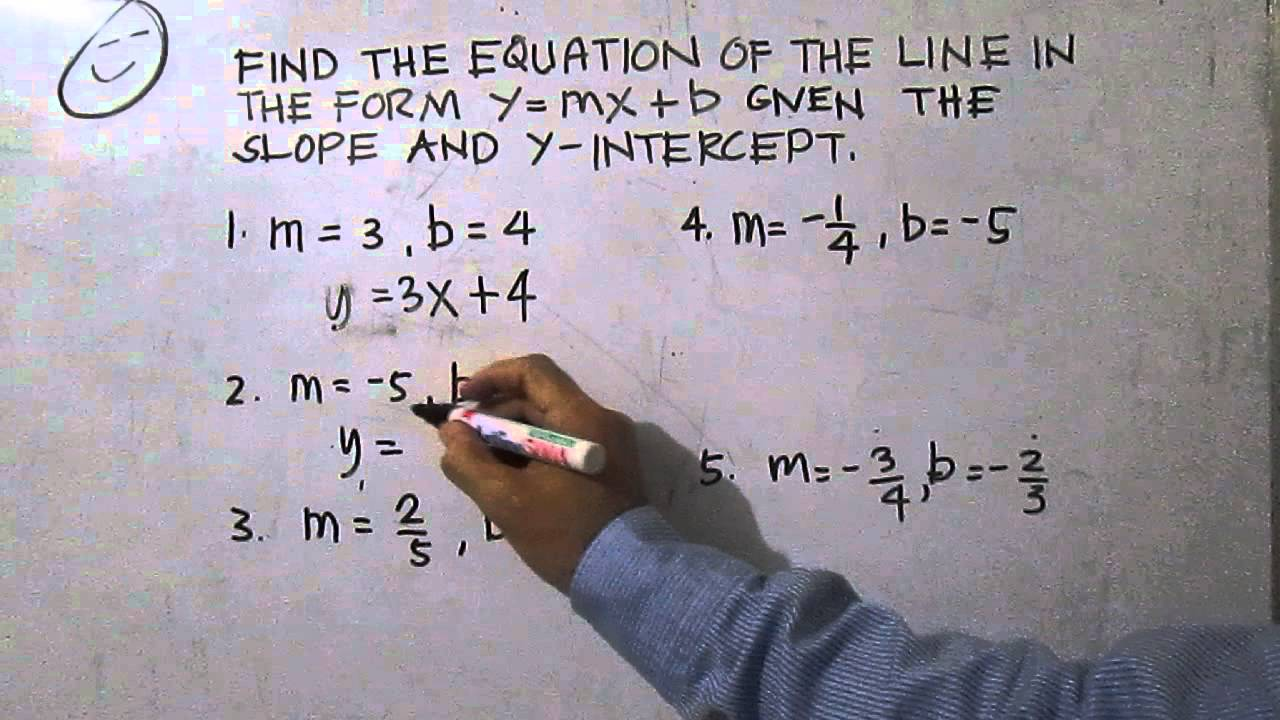 Write the equation of the line given the slope and y intercept write the equation of the line given the slope and y intercept falaconquin