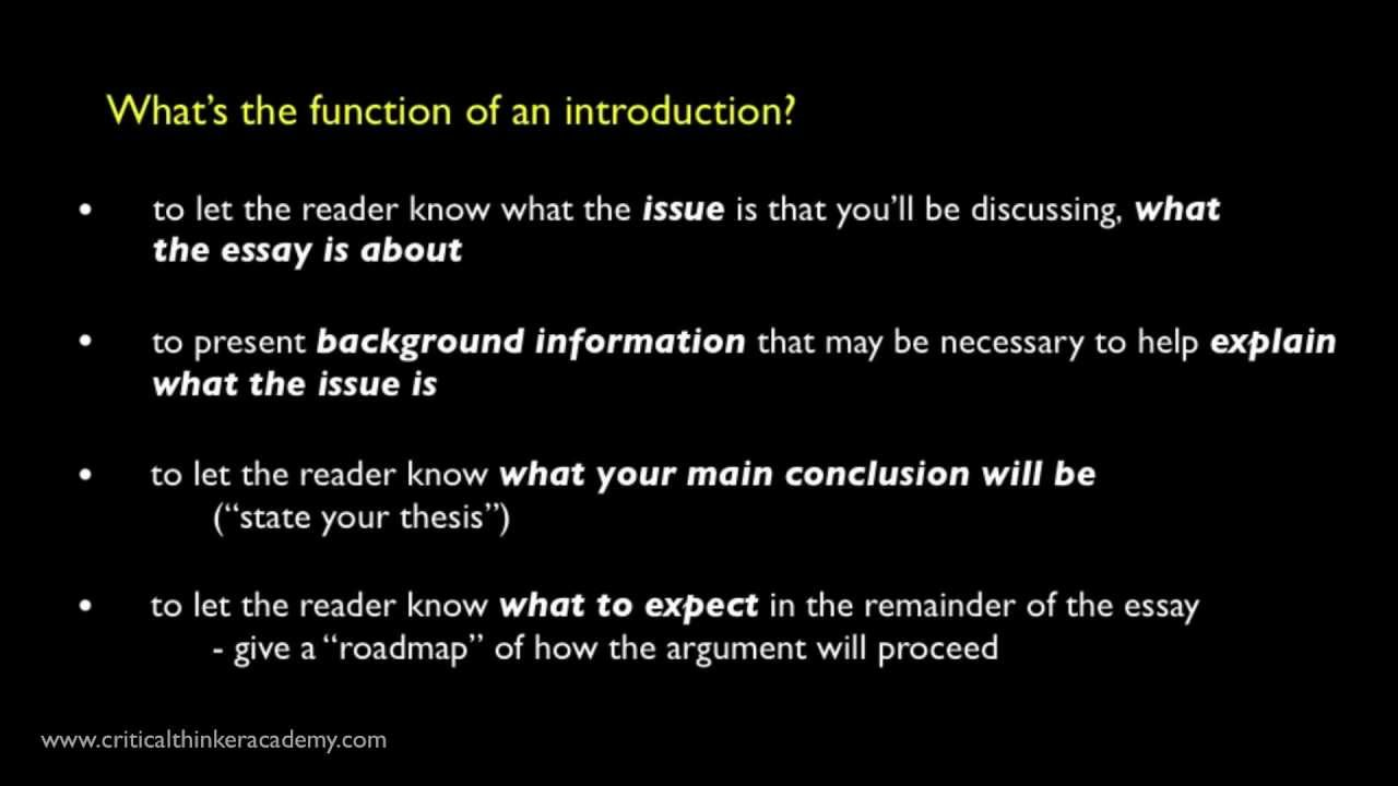 Introduction Paragraph Essay Help. How to Write an Essay
