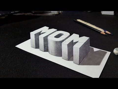 How to Draw 3D Mom Word - Easy Art for Kids