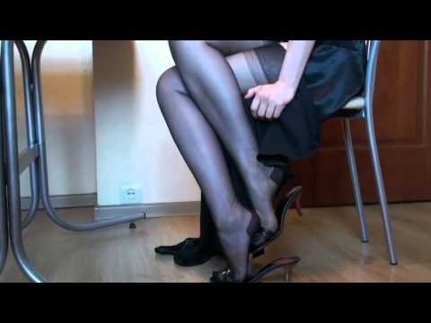 Beautiful shiny legs - playing with feet in nylon thumbnail