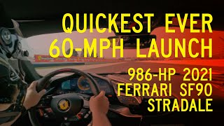 homepage tile video photo for 986-HP Ferrari SF90 Stradale Breaks Our 60-MPH Acceleration Record