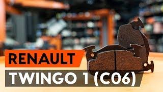 Kā nomainīt priekšējās bremžu kluči / bremžu uzlikas RENAULT TWINGO 1 (C06) [AUTODOC VIDEOPAMĀCĪBA]