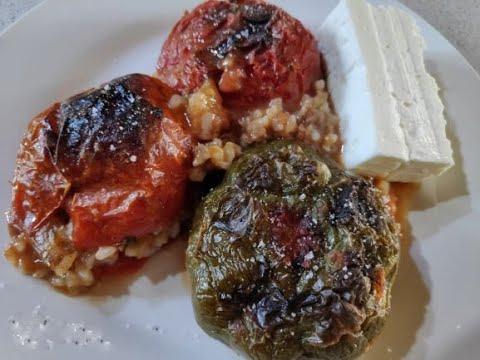 Γεμιστά Traditional Greek stuffed tomatoes and peppers by Kiki
