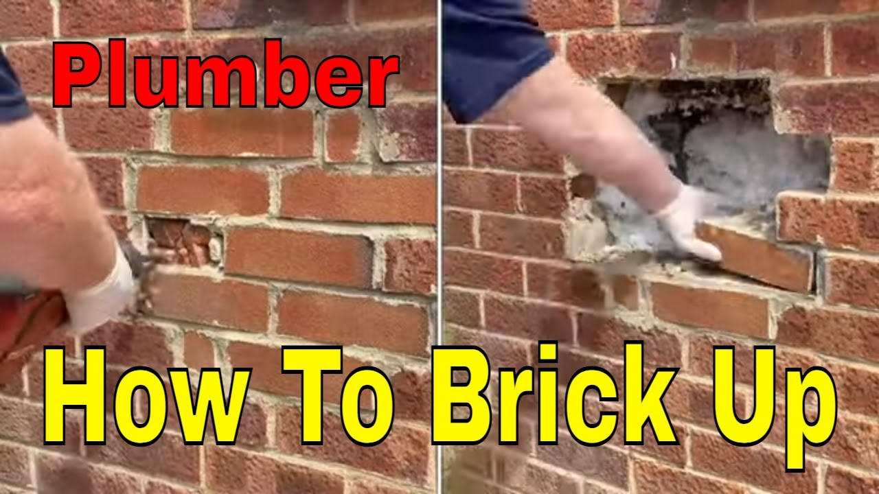 How To Replace Bricks In A Wall - Plumber Bricking Up An Old Flue Hole