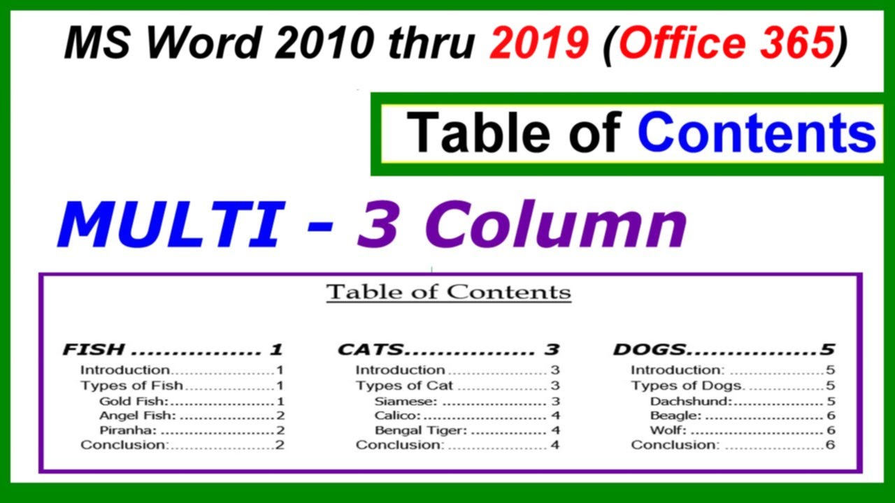 word 2016 2013 2010 table of contents multi 3 column youtube