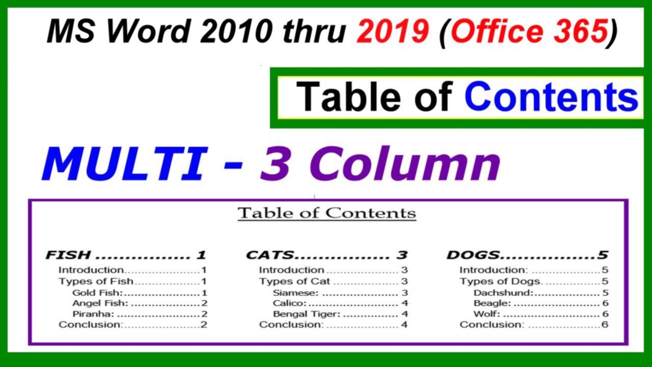 column template word