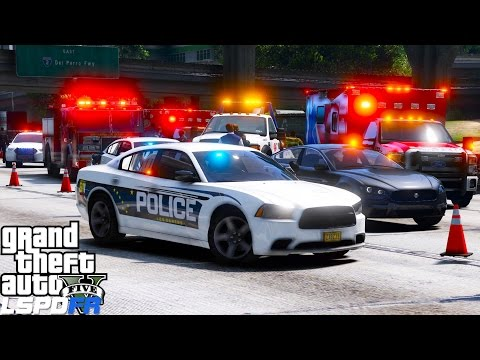 GTA 5 LSPDFR Police Mod 447 | Los Santos Police Department Responding To A Hit & Run On The Freeway