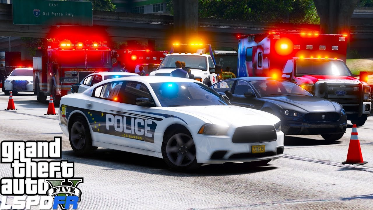 GTA 5 LSPDFR Police Mod 447 | Los Santos Police Department Responding To A Hit & Run On The Freeway #1