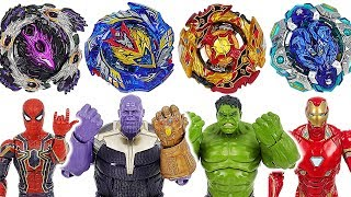 Beyblade super zetsu B-127, 128 appeared! Marvel Avengers Hulk, Iron Man vs Thanos! #DuDuPopTOY