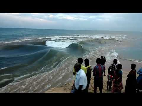 River mixing to sea amazing video,island blue sea in india