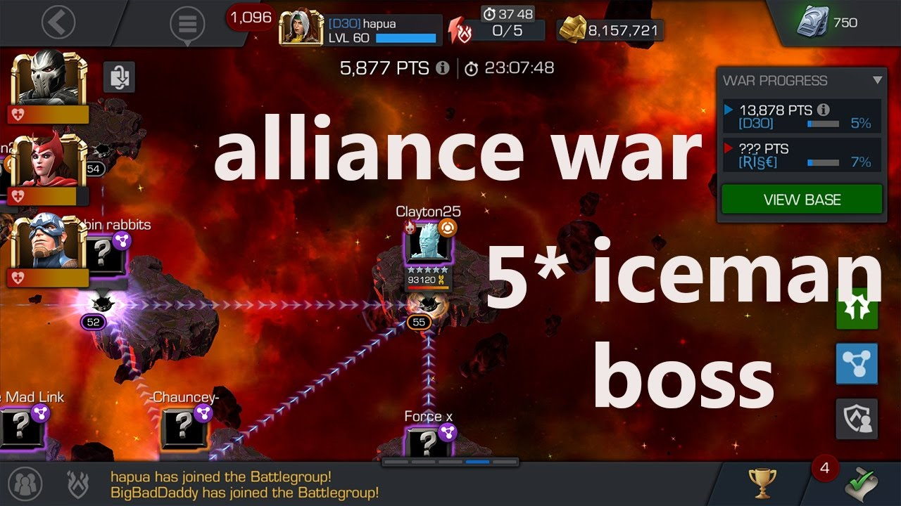 marvel contest of champion alliance war against 9 2M alliance with iceman  boss