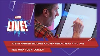 Justin Warner is transformed into a super hero called The Raging Chef at NYCC 2018