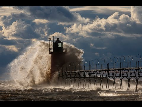 Massive Waves Take On Lake Michigan Lighthouses