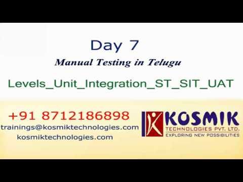 Day 7 - Manual Testing - Testing Levels In Software Testing    Levels Of Testing In Telugu (తెలుగు)
