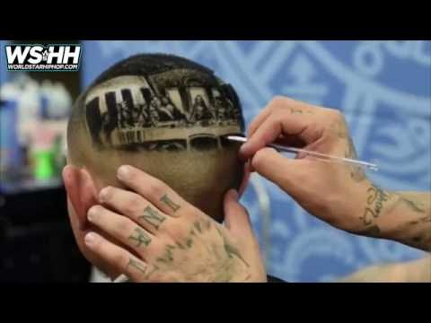 Barber tattoos the holy supper of jesus christ in the head of a client!
