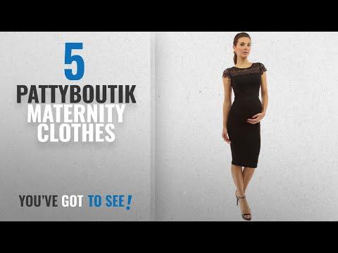 Pattyboutik Maternity Clothes [2018]: PattyBoutik Mama Crewneck Crochet Lace Inset Ruched Sheath