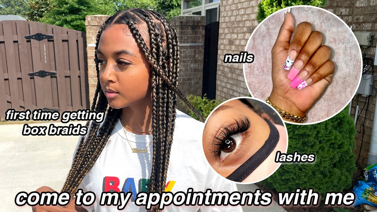 Come to My Appointments With Me | Getting Box Braids for the First Time + nails & lashes | LexiVee