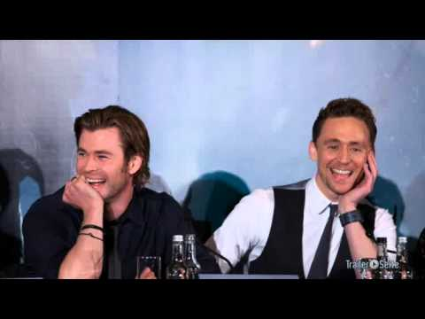 Tom Hiddleston singing 'If I Had A Hammer' during an interview with Chris in Berlin