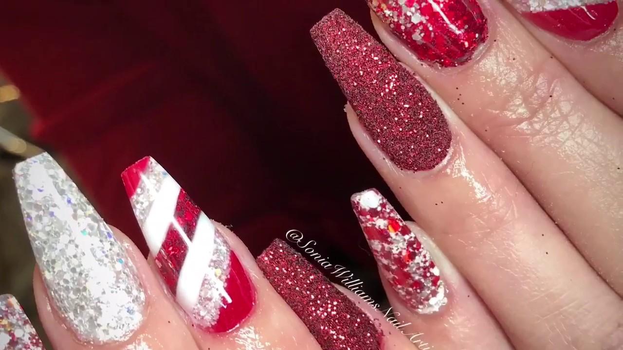 Christmas Acrylic Nails   Candy Cane Nail - YouTube