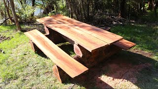 How to build a rustic Log Picnic Table