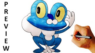 How to draw Froakie from Pokemon X Y 6 Gen easy step by step drawing preview