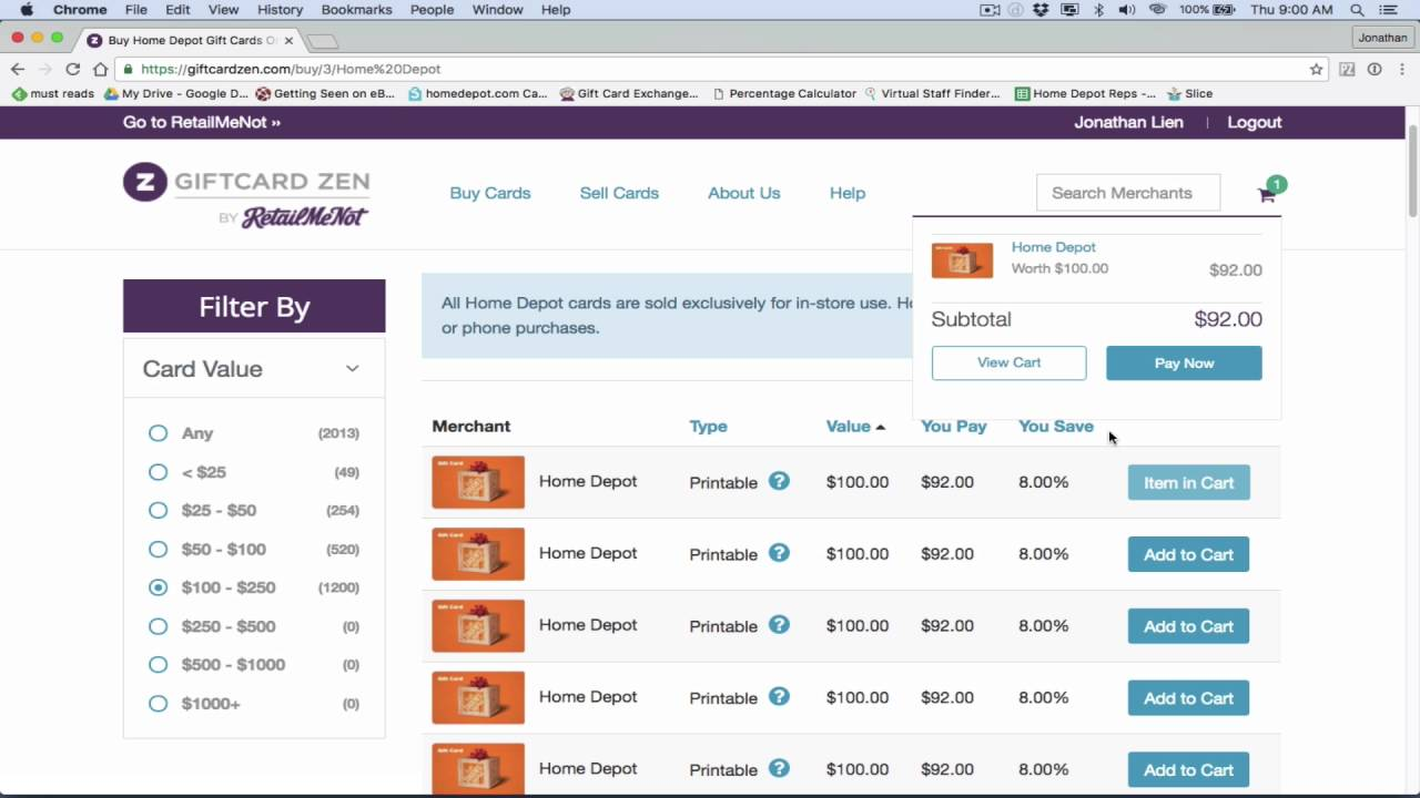 How I Buy Home Depot Gift Cards From GiftCard Zen - YouTube