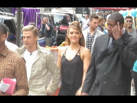 Amy Purdy, Derek Hough, Candace Cameron, Mark Ballas walking in Times Square afterDWTS Finale