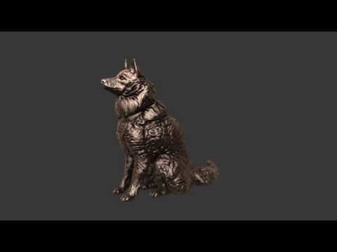 Dog 3D sculpture - Sitting Finnish Spitz