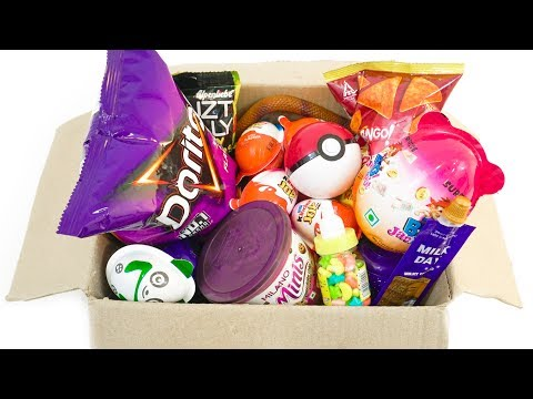 Opening Box Of Kinder joy and other snacks,cookies,candies and surprises