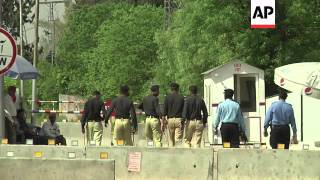 Musharraf convoy; security around farm house; lawyer commenting