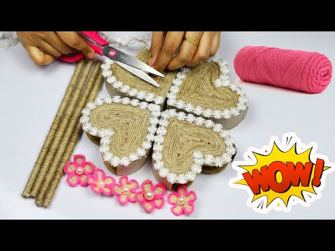 Very Beautyful and Easy Craft Making with Jute Rope and Cardboard | Easy Home Decorating Ideas