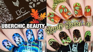 🥰 NEW STAMPING PLATE REVIEW 🍂 UberChic stamping plate 'Lovely Leaves-05'