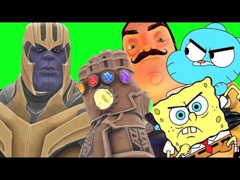 Can Thanos' INFINITY GAUNTLET Kill GUMBALL, THE NEIGHBOR & SPONGEBOB In Gmod!?