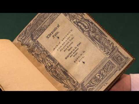 ERASMUS, Desiderius. The Praise of Folie. 1569 [recte 1549]. Peter Harrington Rare Books.