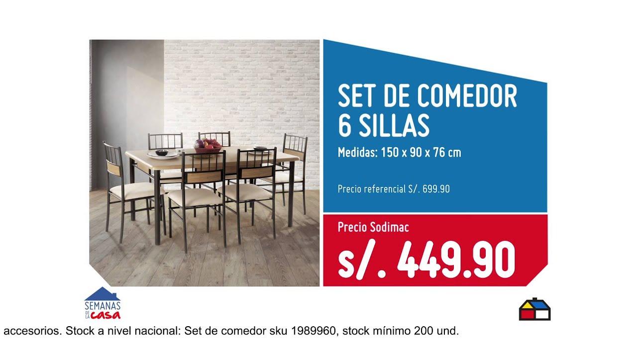 Sodimac semanas de la casa set comedor 6 sillas s for Sillas ergonomicas sodimac