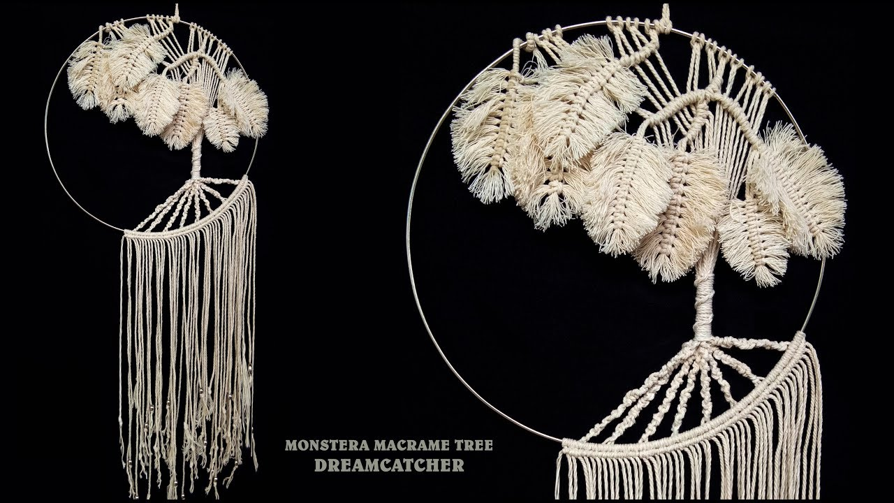 Monstera Macrame Tree Wall Hanging Dreamcatcher Tutorial Youtube