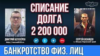 Банкротство в Пермском крае  Списали долг  в 2 200 000 рублей  Закон о банкротстве физических лиц