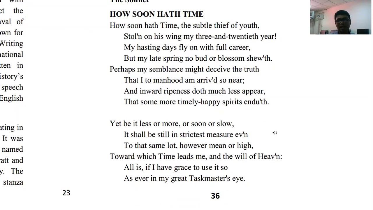 How Soon Hath Time John Milton Youtube Paraphrase