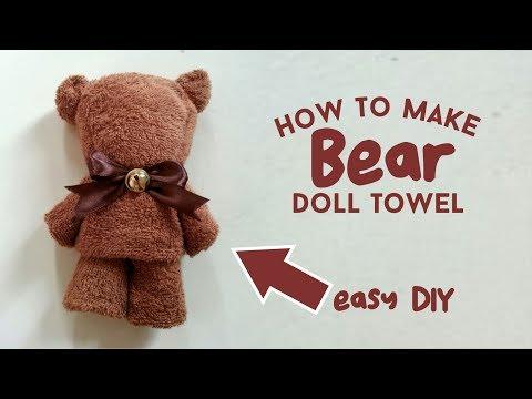 CARA MEMBUAT BONEKA TEDDY BEAR DARI HANDUK - TUTORIAL DIY, HOW TO MAKE DOLL TOWEL
