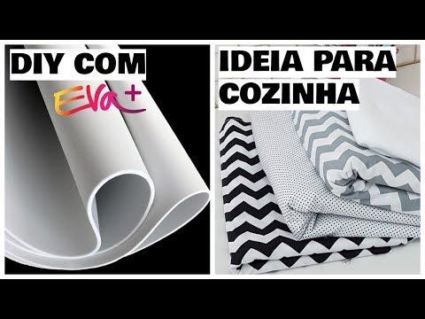 2 DIYs : IDEIA PARA DECORAR A COZINHA COM EVA + IMPERMEABILIZAÇÃO DE TECIDO | Viviane Magalhães