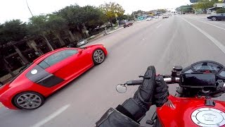 Audi R8 Matches My Sport Bike and I Almost Drop My Bike!