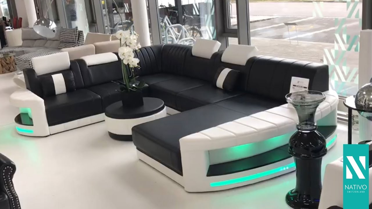 sofa mit led beleuchtung  modern sofa bellagio led l shaped black white ebay  led sofa sofa