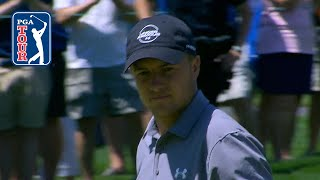 Jordan Spieth eagles from the bunker at Travelers