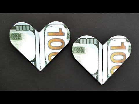 MY Money HEART | Easy Dollar Origami Tutorial Moneygami DIY by NProkuda