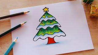 วาดรูปต้นคริสต์มาสง่ายๆ (สีไม้)🎄