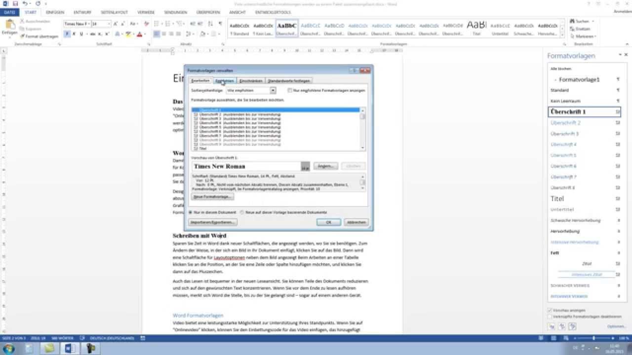 Word 2013, 2010: Formatvorlagen erstellen Tutorial [HD, Anfängerkurs ...